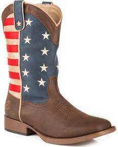 Roper Mens Brown American Patriot Western Boots - Square Toe , Brown, hi-res