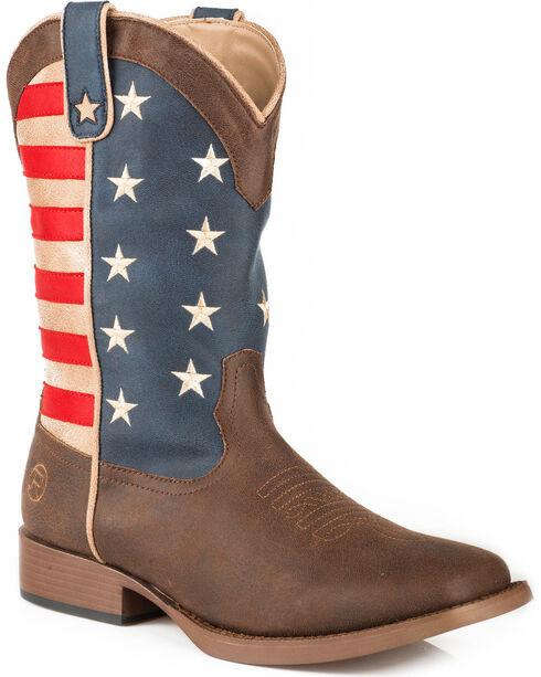 Roper Men's Brown American Patriot Western Boots - Square Toe , , hi-res