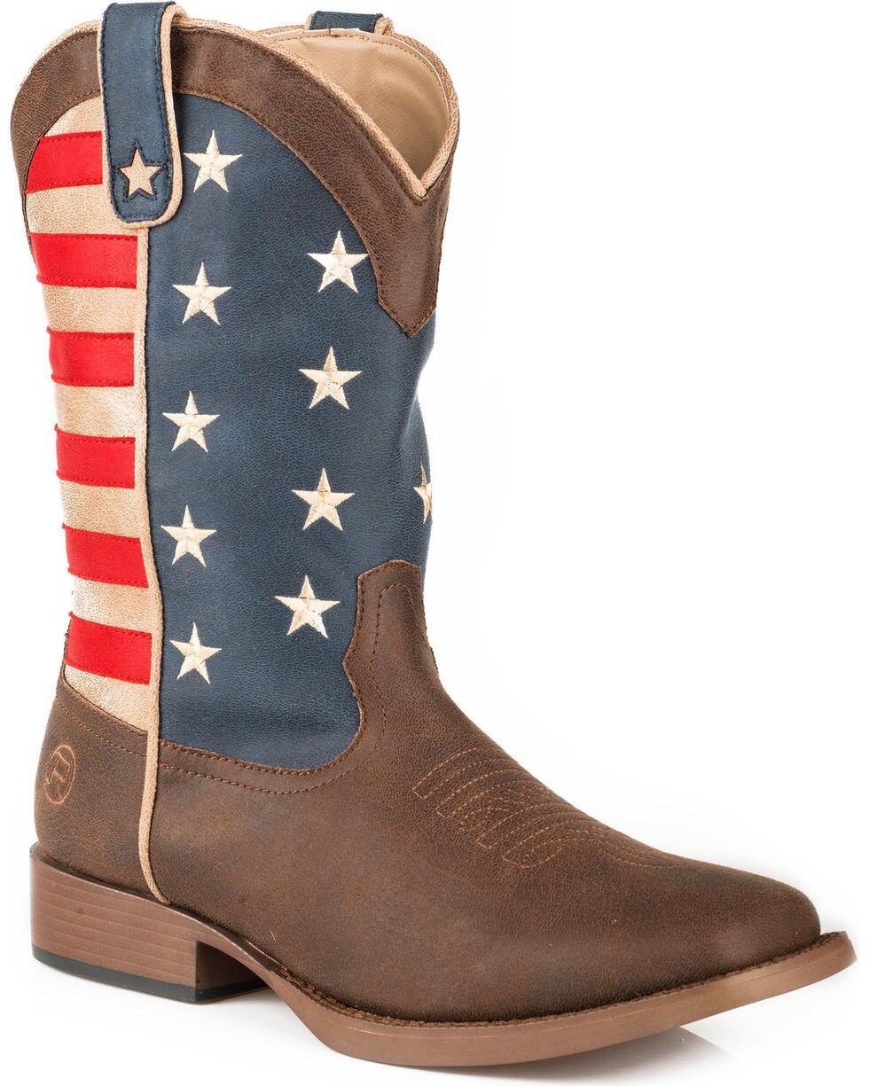Roper Men's Brown American Patriot Western Boots - Square Toe , Brown, hi-res