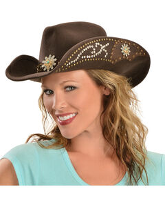 Bullhide Hats Women's Your Everything Embellished Felt Cowgirl Hat, Chocolate, hi-res
