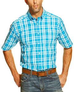 Ariat Men's Blue Finn Short Sleeve Performance Shirt , Multi, hi-res