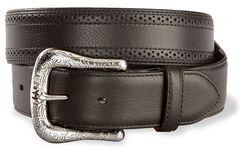 Ariat Black Perforated Edge Belt - Reg & Big, Black, hi-res