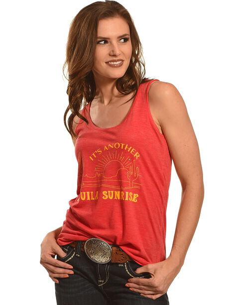 Cowgirl Justice Women's Tequila Sunrise Tank, Red, hi-res