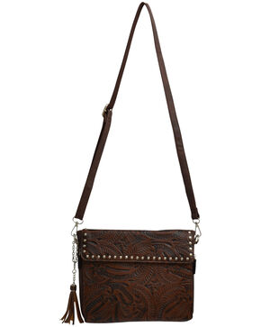 Angel Ranch Women's Brown Tooled Conceal Carry Crossbody Bag , Brown, hi-res