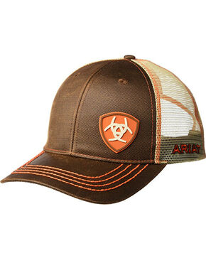 Ariat Men's Brown Oilskin Shield Logo Baseball Cap , Brown, hi-res