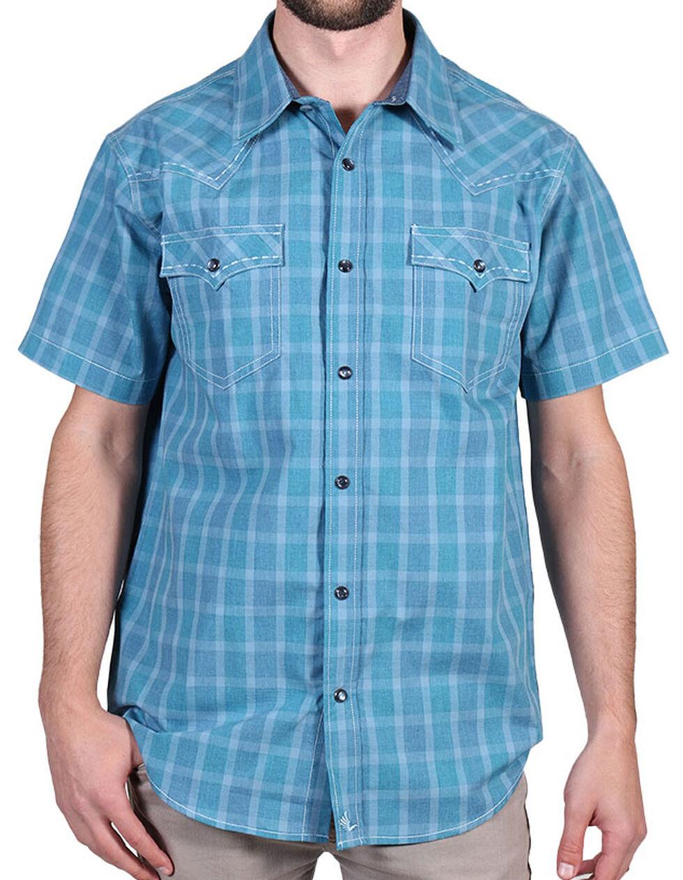 Cody James Men's Plaid Print Short Sleeve Shirt, Blue, hi-res