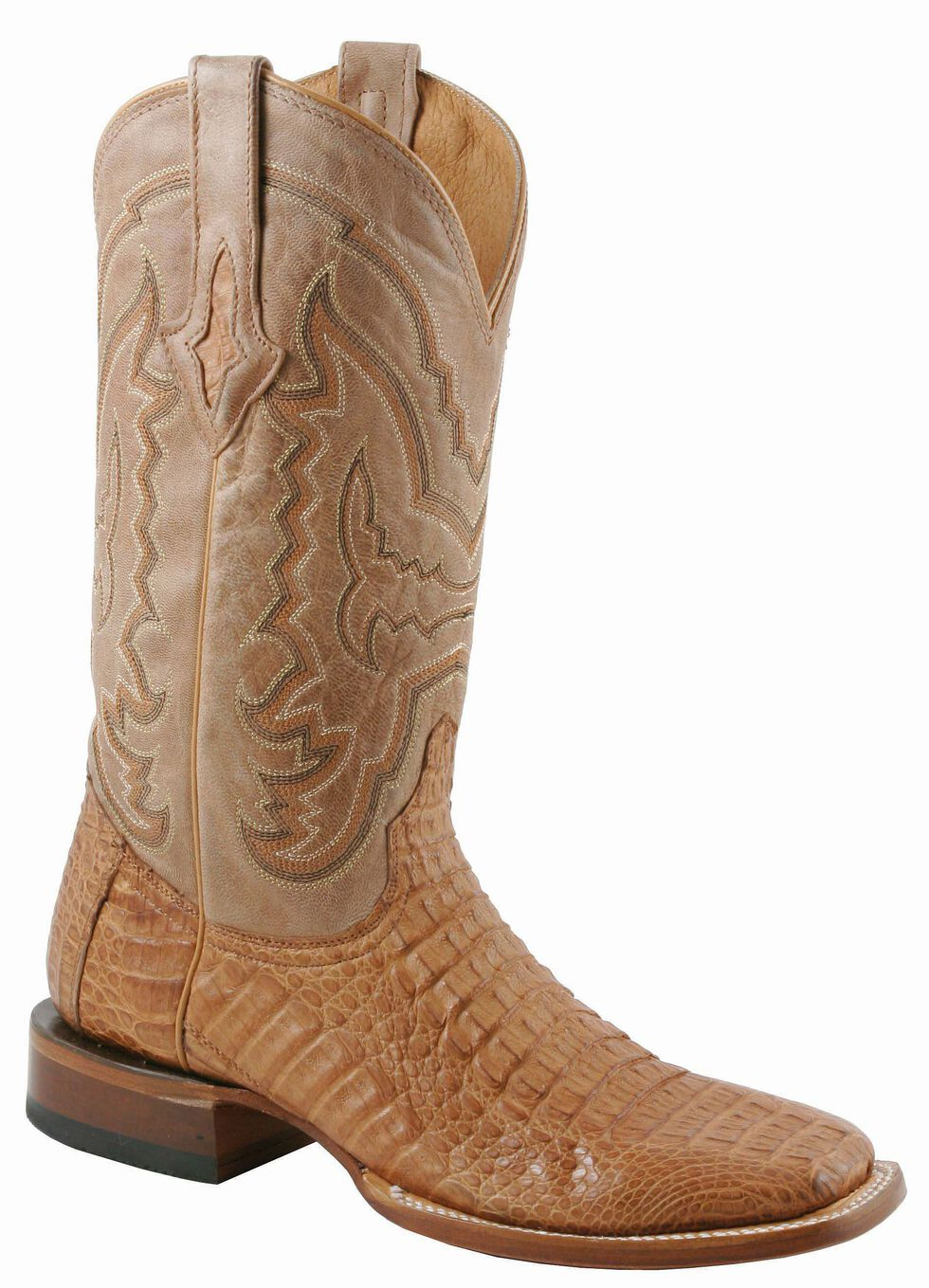 Lucchese Handcrafted 1883 Hornback Caiman Cowboy Boots - Square Toe, Tan, hi-res