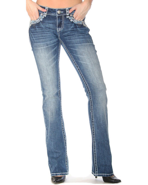 Grace in LA Women's Indigo Heavy Stitched Pocket Jeans - Boot Cut , Indigo, hi-res
