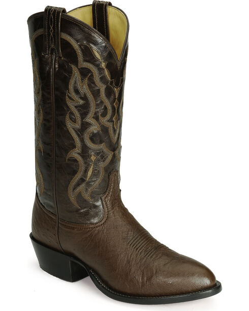 Tony Lama smooth ostrich cowboy boots, Tobacco, hi-res