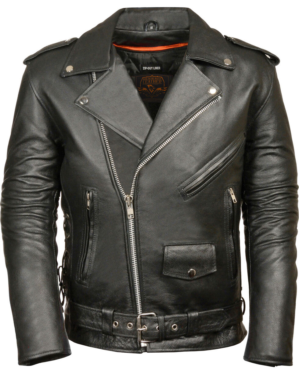 Milwaukee Leather Men's Classic Side Lace Police Style Motorcycle Jacket - Big - 4X, Black, hi-res