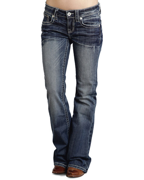 "Stetson Women's 816 Fit White ""S"" Stitch Bootcut Jeans, Denim, hi-res"