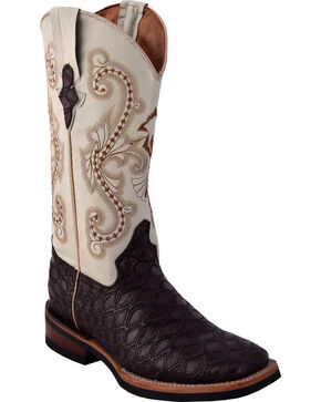 Ferrini Women's Chocolate Anteater Print Cowgirl Boots - Square Toe , Chocolate, hi-res
