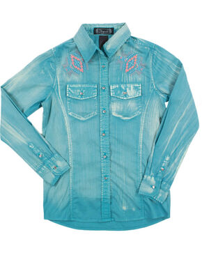 Shyanne Girl's Solid Snap with Embroidery Long Sleeve , Teal, hi-res