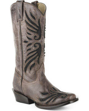 Roper Women's Lace Underlay Western Boots - Square Toe , Brown, hi-res