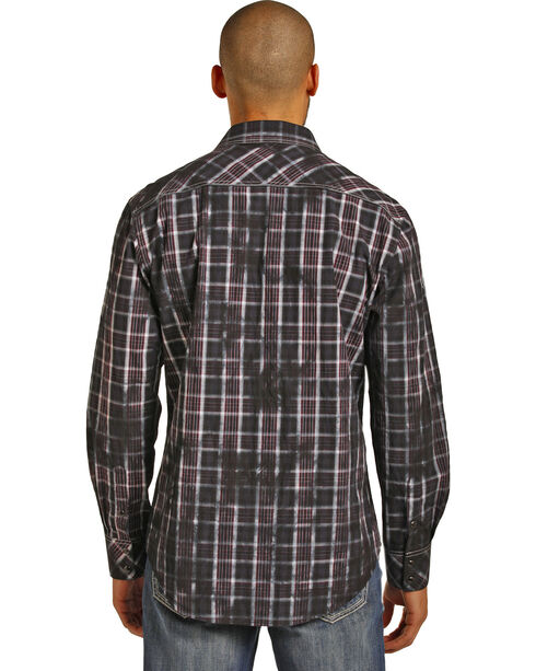 Rock & Roll Cowboy Men's Long Sleeve Spray Washed Plaid Snap Shirt, Black, hi-res