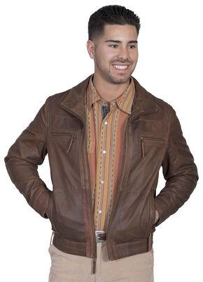 Scully Men's Lambskin Zip Front Jacket, Brown, hi-res