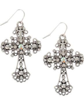 Shyanne Women's Vintage Cross Earrings, Silver, hi-res