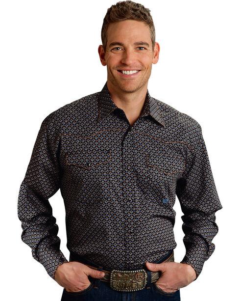 Roper Men's Amarillo Collection Navy Dot Snap Long Sleeve Shirt, Blue, hi-res