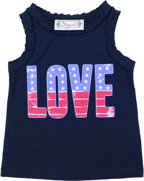 Shyanne Girls' Americana Love Tank Top , Navy, hi-res