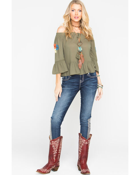 Miss Me Women's Olive Embroidered Off The Shoulder Peasant Top, Olive, hi-res