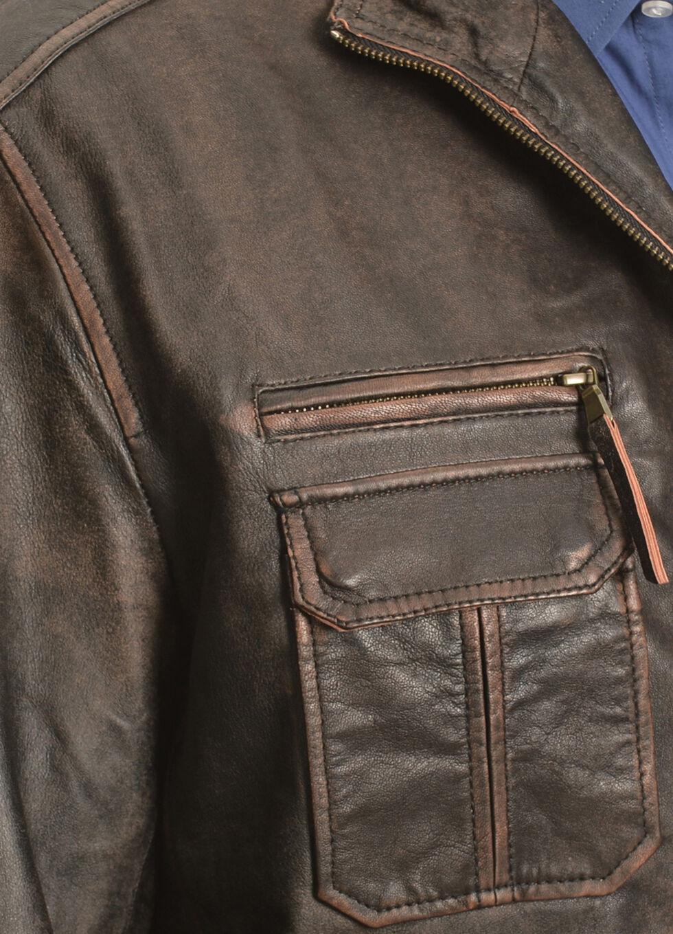 Scully Vintage Lamb Zip Front Jacket - Big & Tall, Brown, hi-res