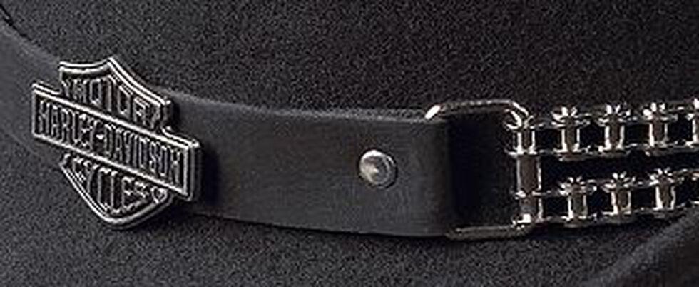 Harley Davidson Chain Band Bend-A-Brim Wool Felt Crushable Cowboy Hat, Black, hi-res