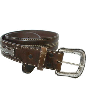 Roper Men's Brown Concho Belt , Brown, hi-res