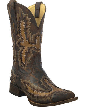 Corral Men's Chocolate Distressed Inlay Boots - Square Toe , Chocolate, hi-res