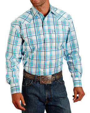Stetson Men's Large Plaid Print Long Sleeve Western Shirt, Turquoise, hi-res