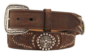 Ariat Embossed Round Concho Belt, Brown, hi-res