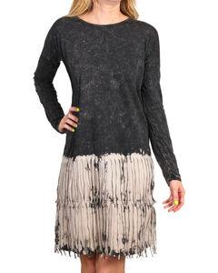 Petrol Women's Fringe Ombre Long Sleeve Dress, Black, hi-res