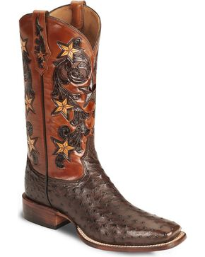 Tony Lama Signature Series Full Quill Ostrich Western Boots - Square Toe, Kango, hi-res