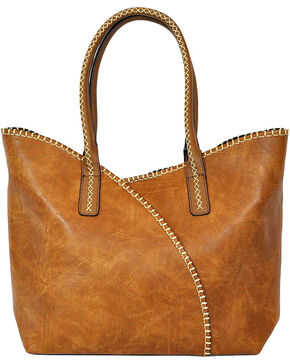 Shyanne Women's Brown Whip Stitch Shoulder Bag , Brown, hi-res
