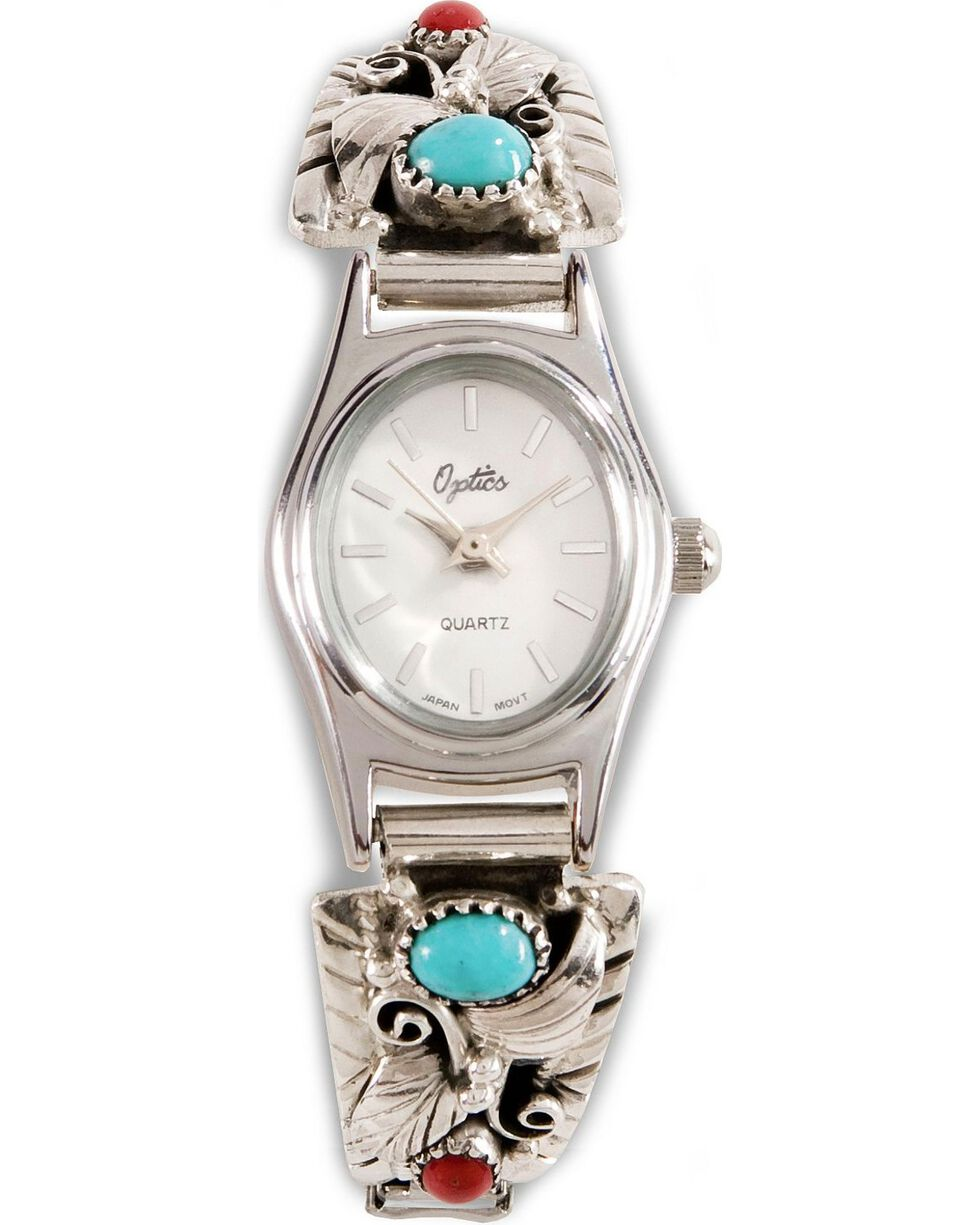 Handmade Turquoise & Coral Stone Embellished Watch, Silver, hi-res