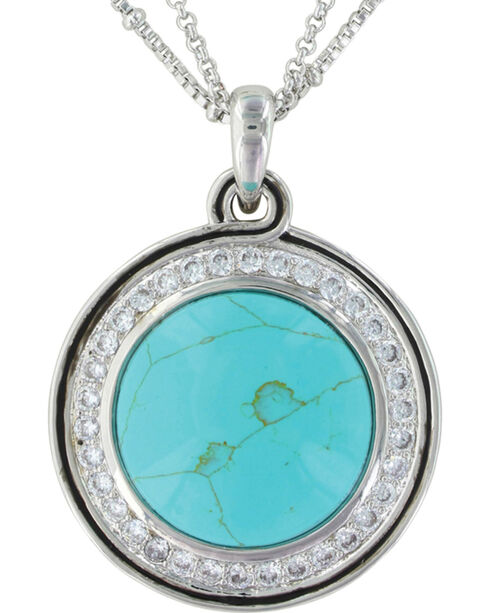 Montana Silversmiths Women's Classic Turquoise Medallion Necklace, Silver, hi-res