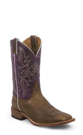 Justin Bent Rail Hazel Brown Cowboy Boots - Square Toe, Brown, hi-res