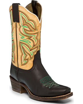 Nocona Women's Leather Chocolate Golden Tan Cowgirl Boots - Square Toe, Chocolate, hi-res