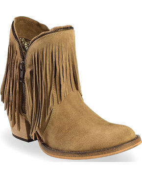 Dingo Women's JuJu Fringe Zipper Top Short Boots - Round Toe , Brown, hi-res