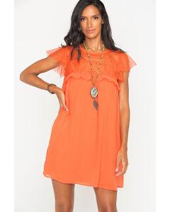 Polagram Women's Orange Lace Ruffle Sleeve Dress, , hi-res