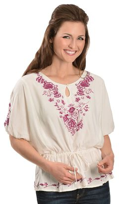Ariat Floral Embroidered Tunic, White, hi-res