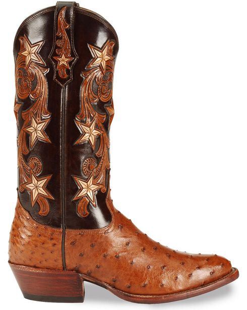 Tony Lama Signature Series Full Quill Ostrich Western Boots - Medium Toe, Brandy, hi-res