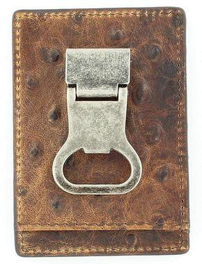 Nocona Ostrich Print Money Clip Wallet, Brown, hi-res