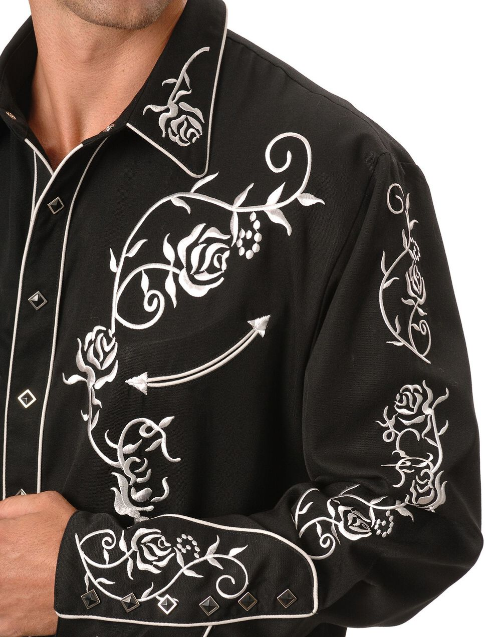 Scully Floral Embroidered Vintage Western Shirt, Black, hi-res