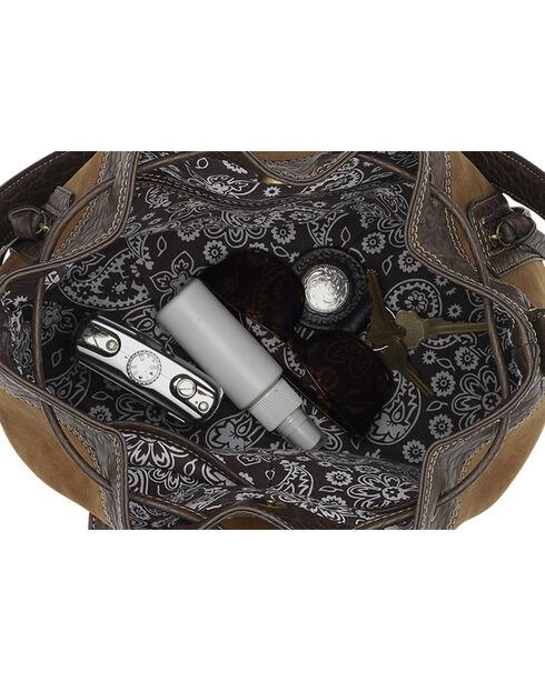 Bandana by American West Guns and Roses Collection Drawstring Bucket Bag, Tan, hi-res