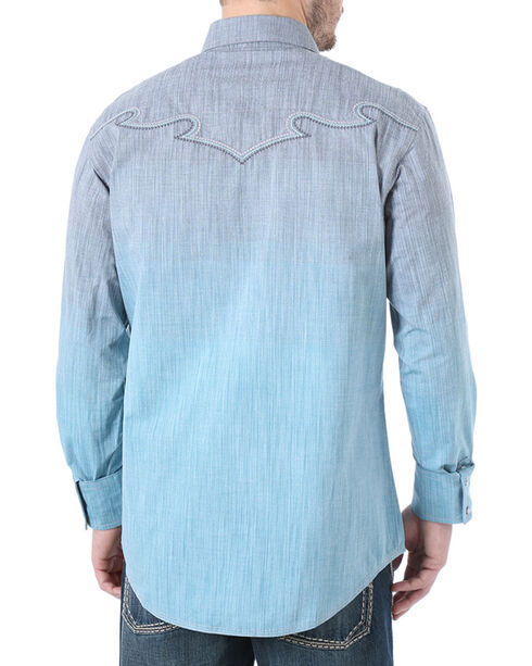 Rock 47 by Wrangler Men's Western Embroidered Ombre Long Sleeve Shirt, Grey, hi-res