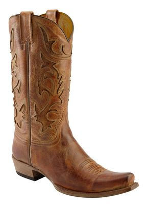 Stetson Crackle Inlay Cowboy Boots - Snip Toe, Honey, hi-res