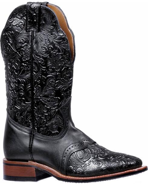 Boulet Black Torino Tooled Saddle Cowgirl Boots - Square Toe , Black, hi-res