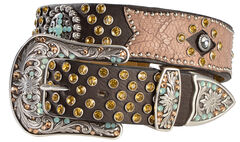 Ariat Bedecked Crackle Leather Overlay Belt, , hi-res