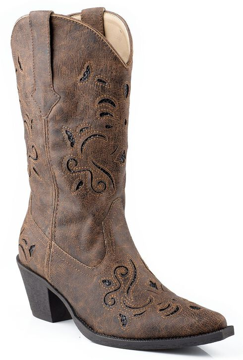 Roper Vintage Faux Leather Glittery Inlay Cowgirl Boots - Snip Toe, Brown, hi-res