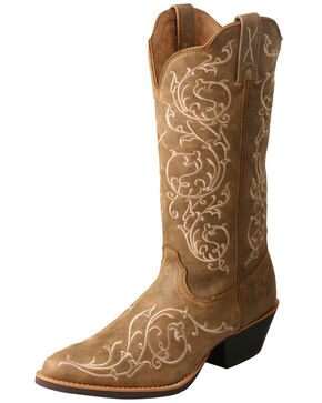 Twisted X Women's Double Rose Scallop Western Boots - Round Toe, Brown, hi-res
